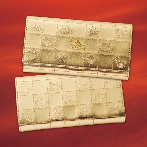 キティとラッキーショップのコラボでできた金の財布